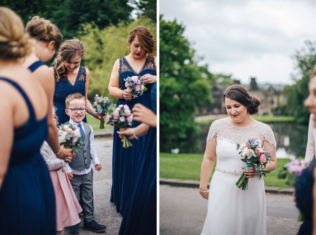 Bridesmaids and bride. East Riddlesden Hall wedding photography.