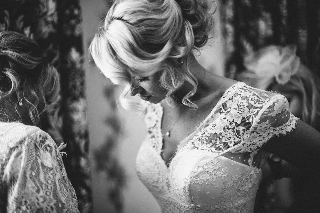 Bride's lace dress