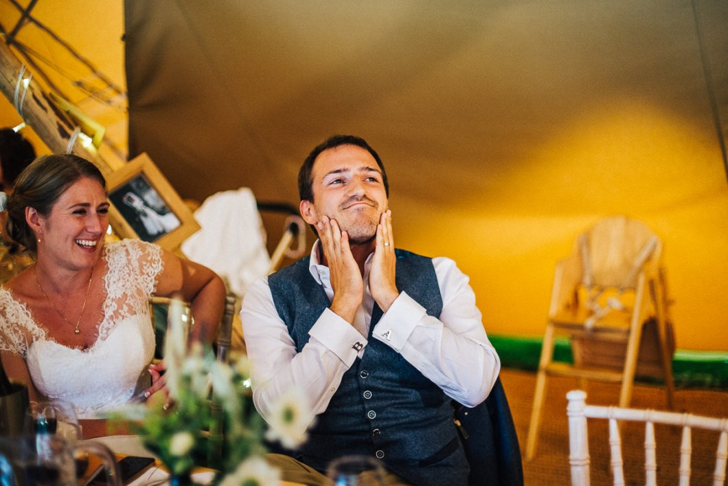 Hilarious speeches at the tipi wedding