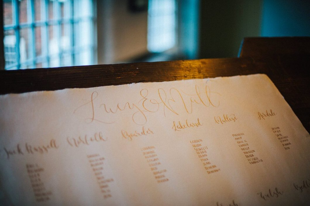 Gold calligraphy table plan