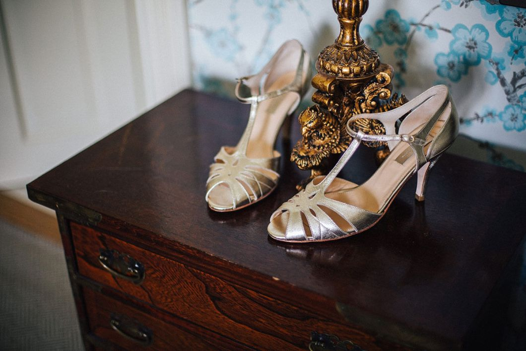 Bride's silver shoes