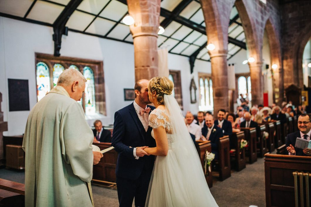 First kiss at St Chad's church in Llangollen
