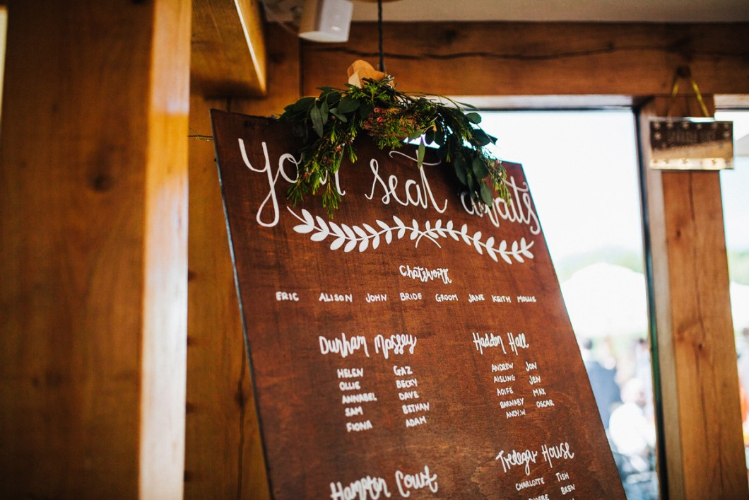Rustic seating plan with flowers