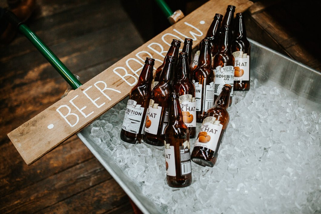 Wiley Fox wedding beer barrow
