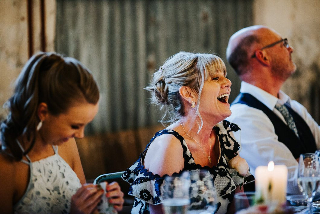 Capturing laughter during the wedding speeches
