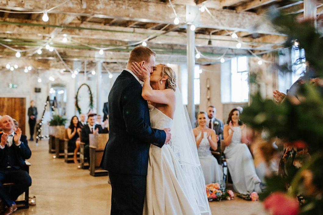First kiss Holmes Mill wedding