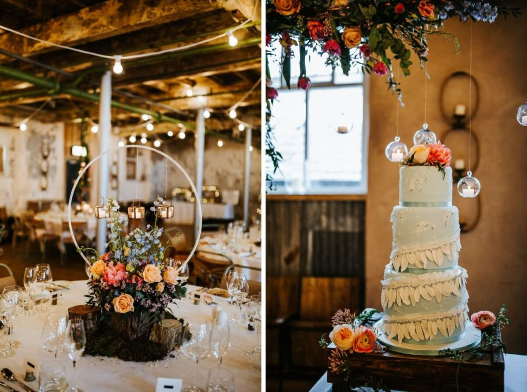Beautiful wedding details and feather detailed cake