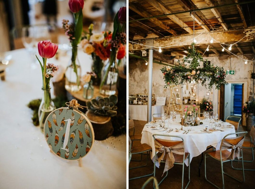 Floral hoop wedding decor