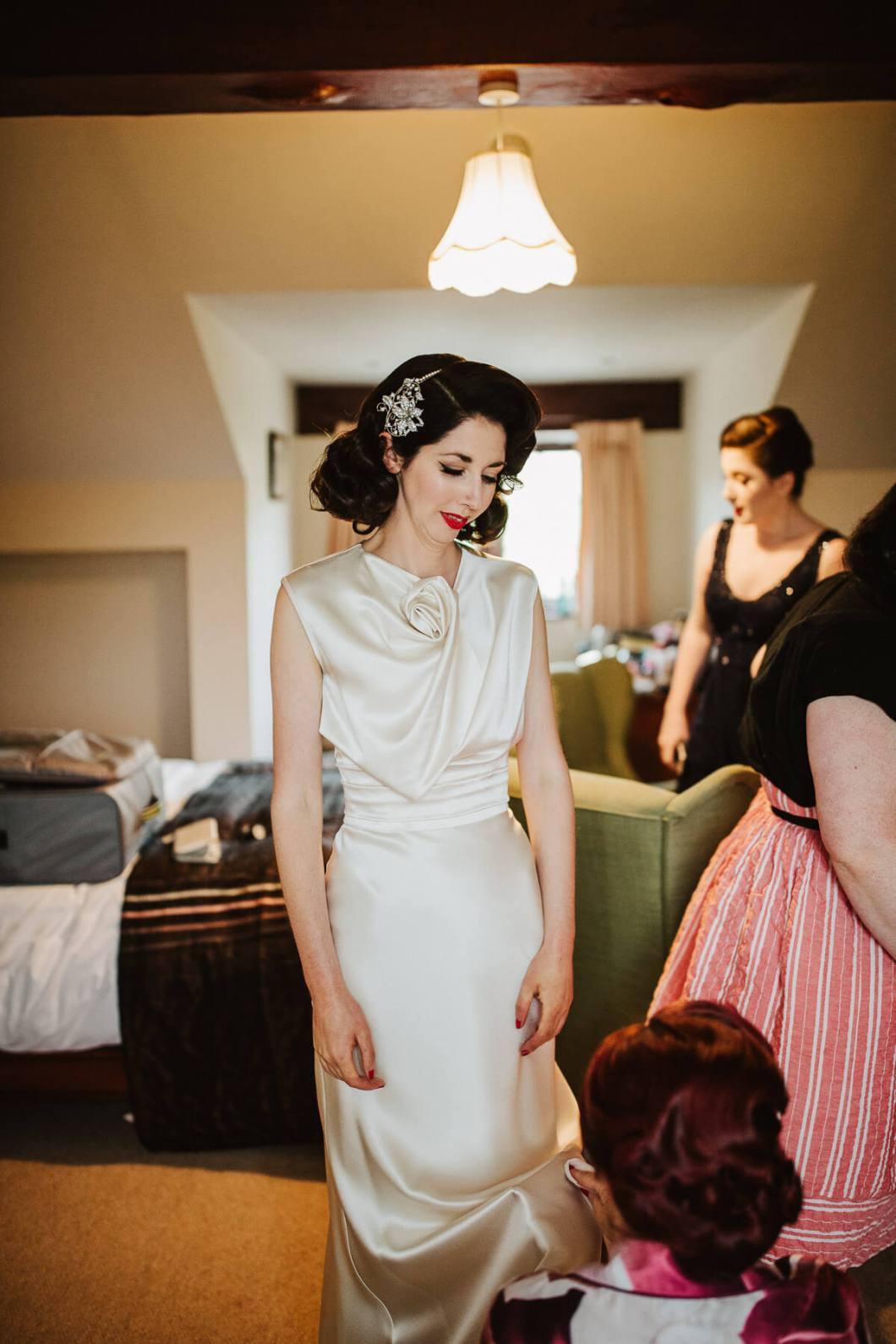 Vintage bride wearing a David Fielden Dress