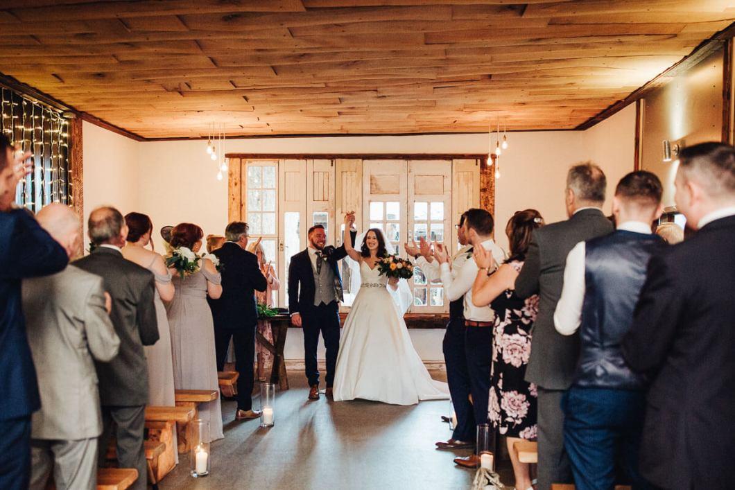 Newly wed couple celebrating