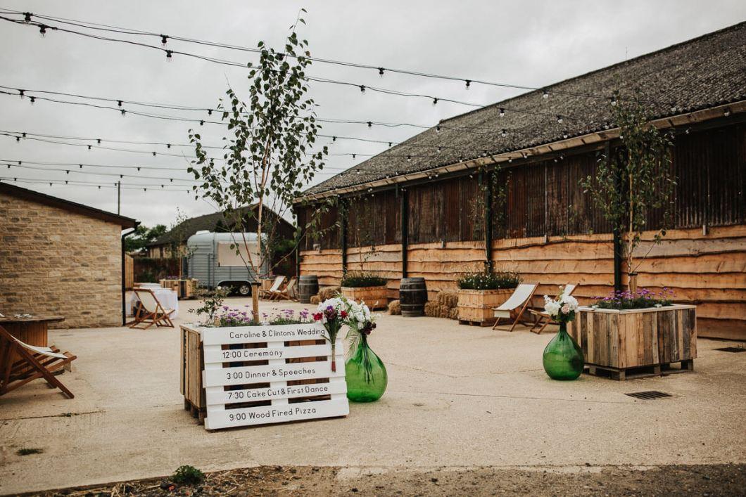 Huntsmill Farm Courtyard with festoon lights