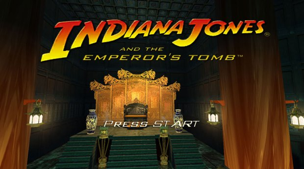 """Indiana Jones and the Emperor's Tomb PC start screen, replacing """"Press Enter"""" with """"Press Start"""" (SOURCE: LucasArts)"""