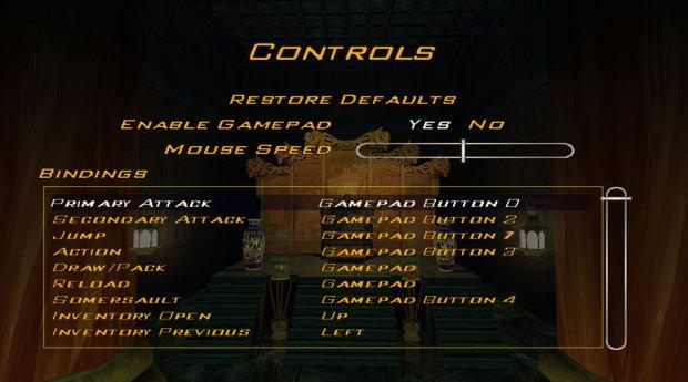 Indiana Jones and the Emperor's Tomb Controls menu (SOURCE: LucasArts)
