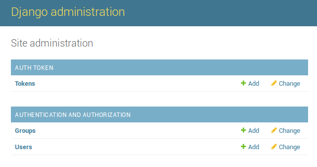 Administration interface