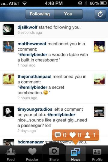 Instagram notifications new follower