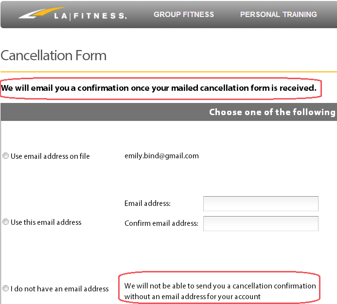 LAFitness.com cancellation form request email address required