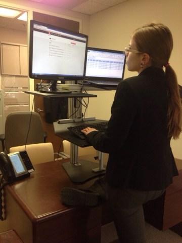Emily Binder at Dual Kangaroo standing desk