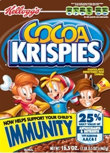 "Cocoa Krispies ""Immunity"" Cereal – 40% Sugar by Weight + Trans Fats"