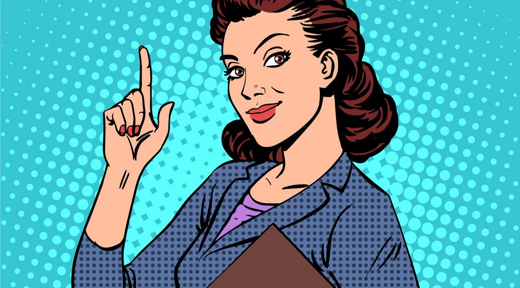business woman with idea illustration