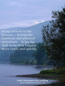 Being present to the process ~ feeling the emotions and physical sensations ~ helps the shift to healing happen more easily and quickly.