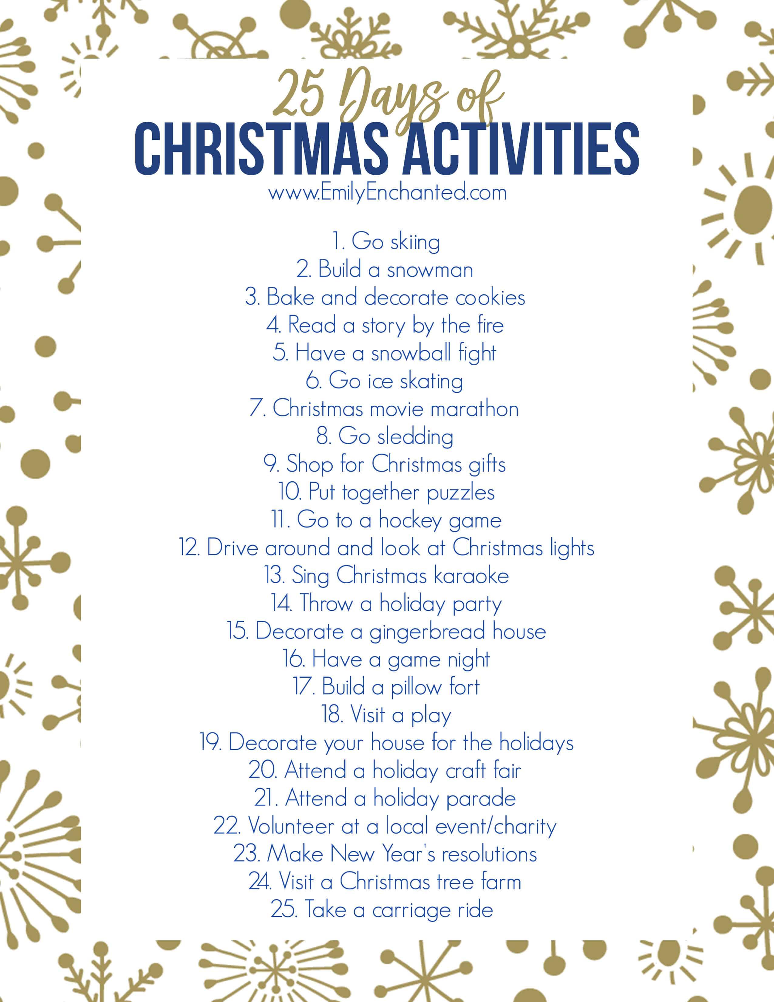 25 Days Of Christmas Activities Printable