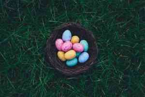 Colorful easter eggs in basket in the grass
