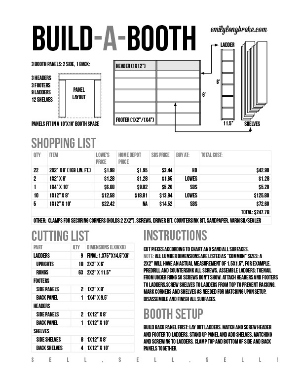 BOOTH INSTRUCTIONS