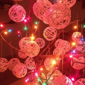 Tree With Lights And String Ornaments By Emily Longbrake