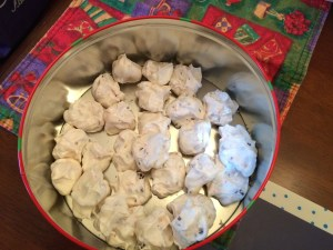 Meringues with bits of candy cane
