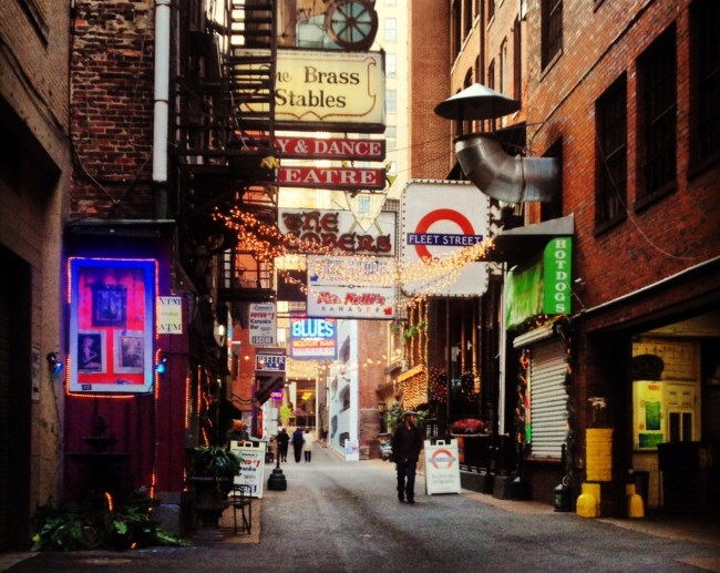 If I stayed in my house instead of wandering, I wouldn't have found Printers Alley hidden in downtown Nashville. If I already knew about it, I wouldn't have thought it was so cool. But I didn't, so I did. © Emily Siner 2014