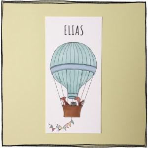 geboortekaartje luchtballon aqua diertjes jongen