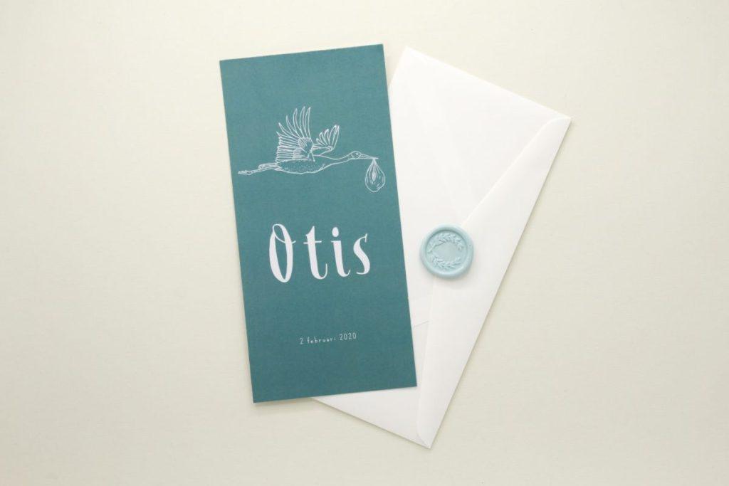 Geboortekaartje Otis ooievaar mint lente rustig sluitzegel