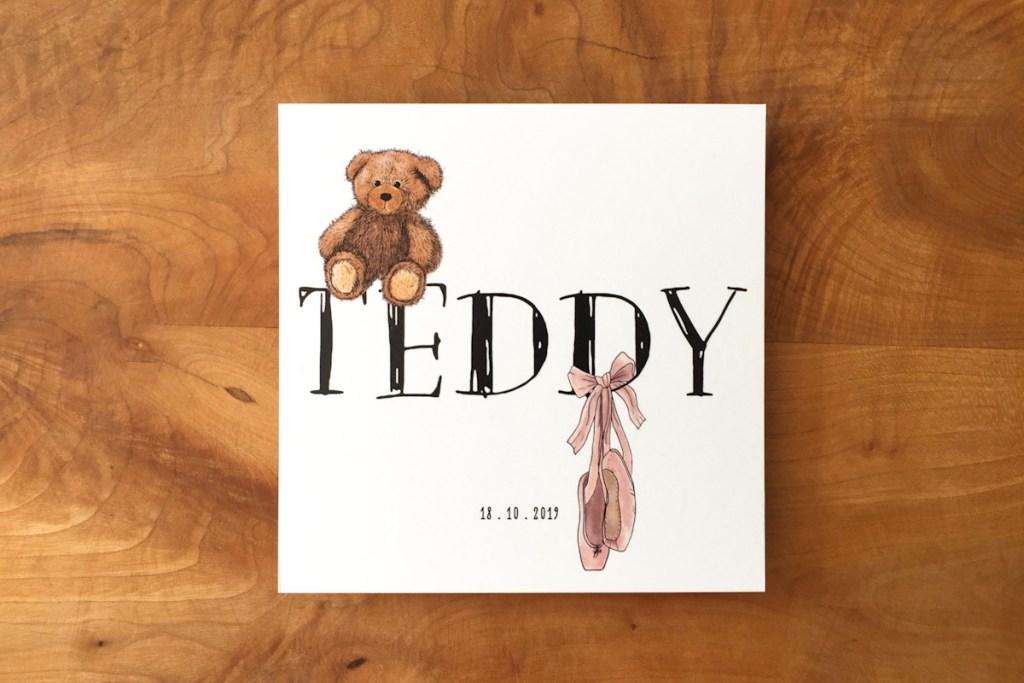 geboortekaartje Teddy teddybeer beer spitzen ballet roze meisje lief schattig