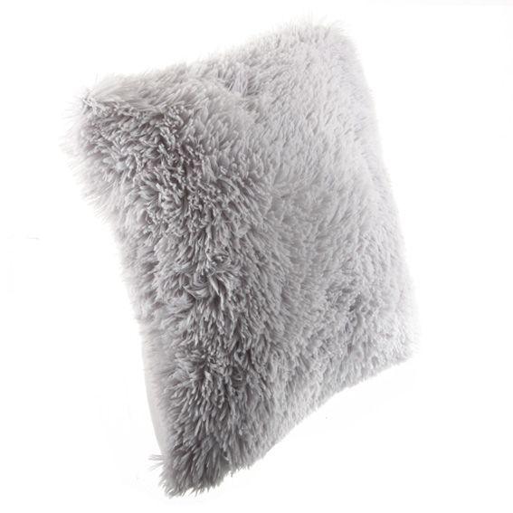 coussin fausse fourrure 45 cm siberien gris