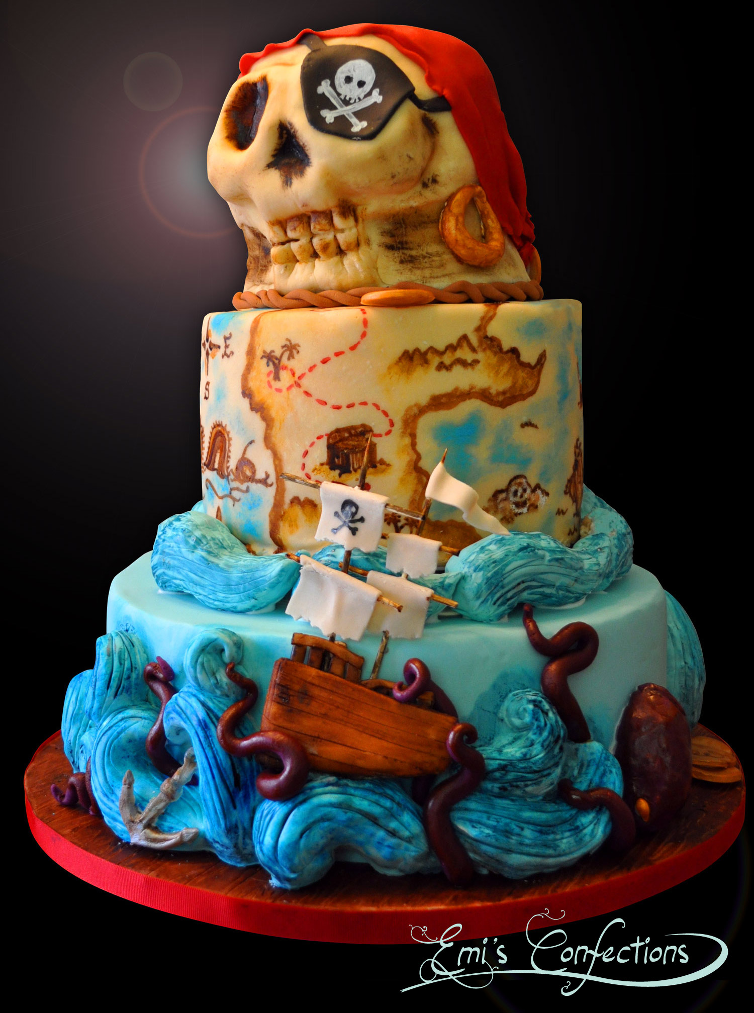 Awesome Pirate Ship Treasure Map And Skull Cake