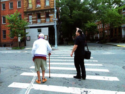 Emir hailing a cab for David Del Tredici in Greenwich Village (July, 2018)