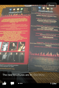 Lincoln Center - Chamber Music New York concert-Flyer