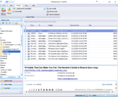 Screen shot of .eml viewer pro software with emails in the maillist.