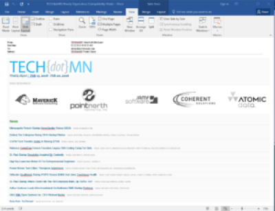 Screen shot of a converted .eml file loaded in Microsoft Word.
