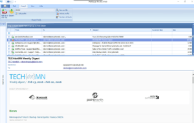 Screen shot of EmlViewer Pro with a .eml email file selected.