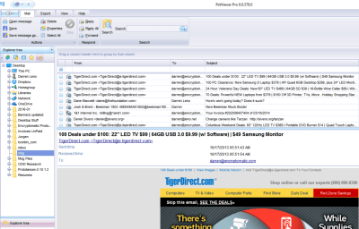 Screen shot of EmlViewer Pro with .msg files displayed.