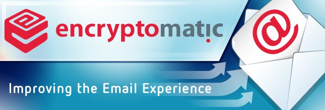 "Logo showing Encryptomatic Logo, and ""Improving the Email Experience"""