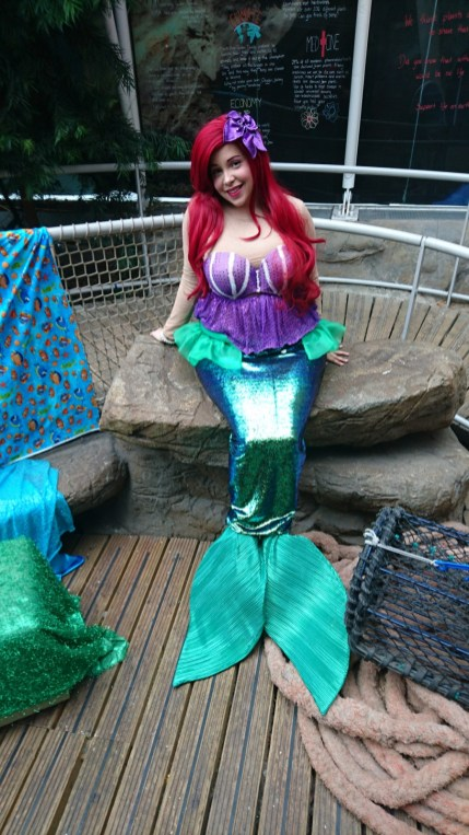 Handmade mermaid tail for Tamara (Princess Appearances) at the Bristol Aquarium