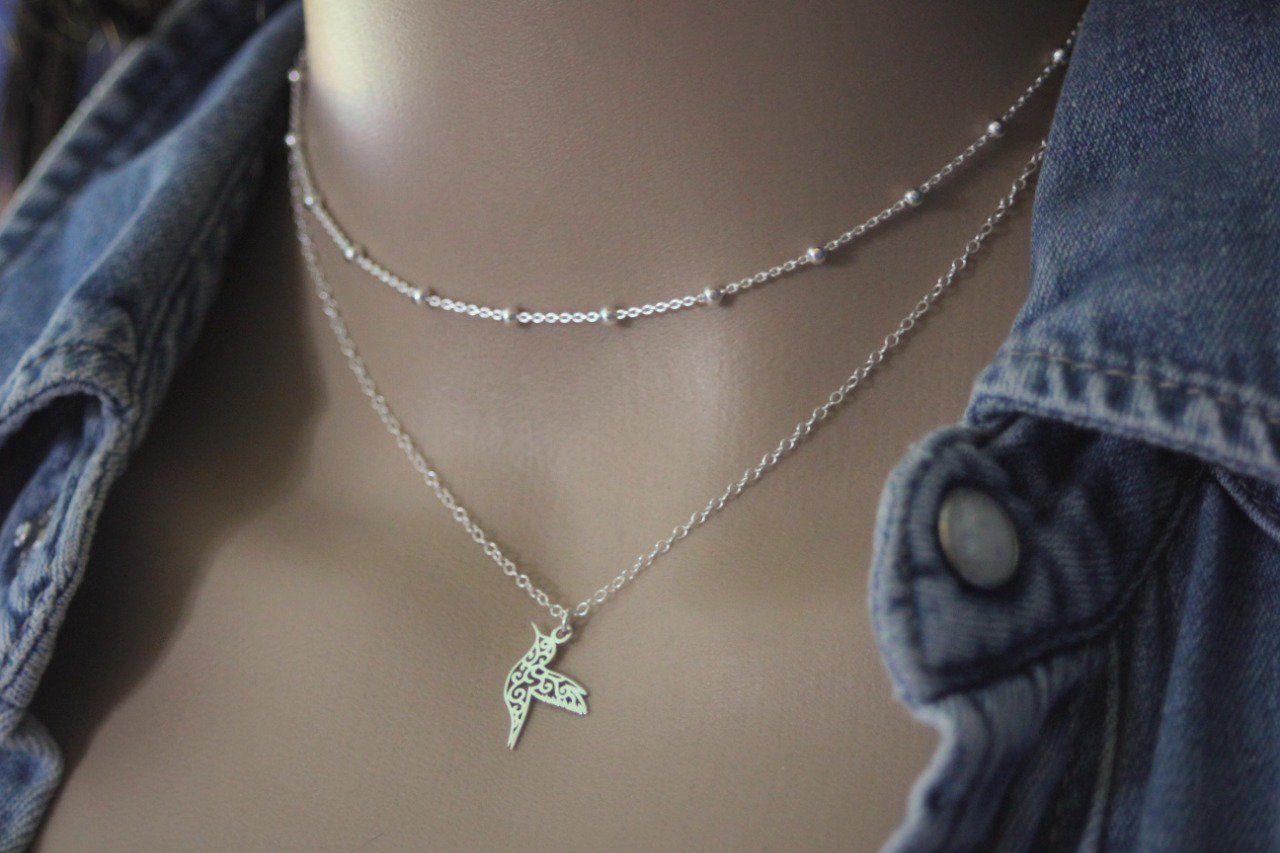 collier argent massif double chaine et pendentif colibri emmafashionstyle