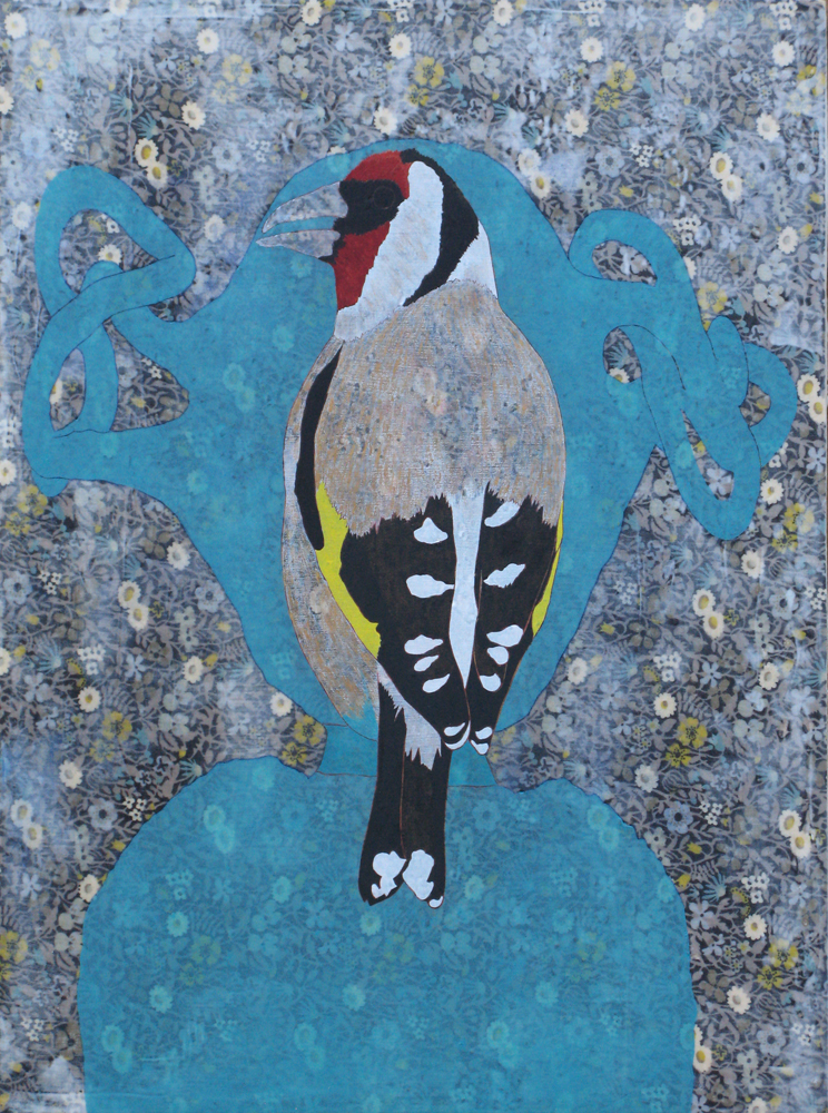 JAMES FISHER Isabella's Goldfinch, 2014, mixed media on panel 40 x 30cm