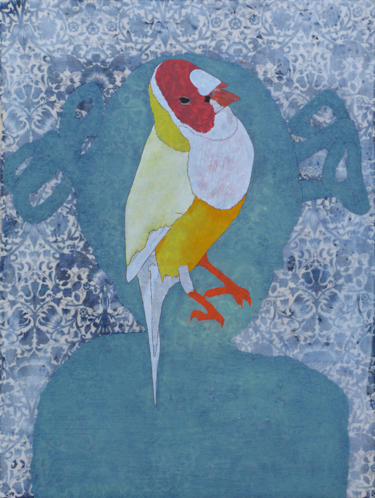 JAMES FISHER Isabella's Gouldian Finch, 2014, mixed media on panel 40 x 30cm