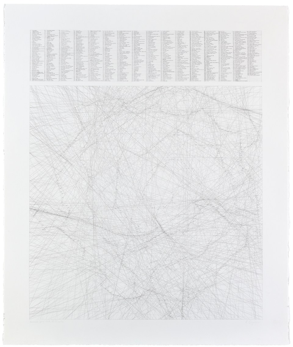 RACHAEL CLEWLOW Newcastle Spiral Walk, 63.35 Miles 2015, Pencil on paper, 74.7 x 64.5cm