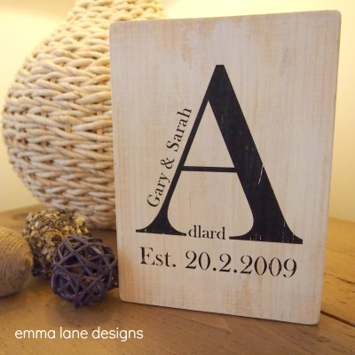 Rustic wooden wedding keepsake block