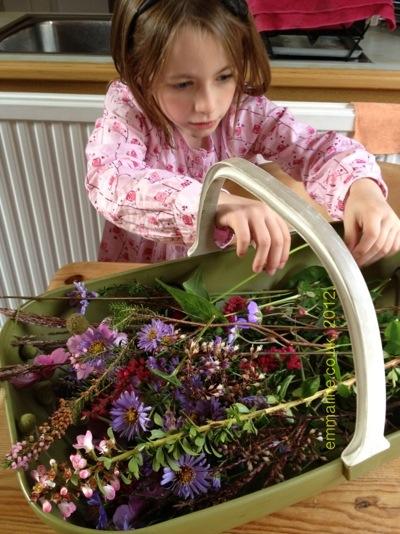autumn flowers in England by emmaline.co.uk girl flower basket