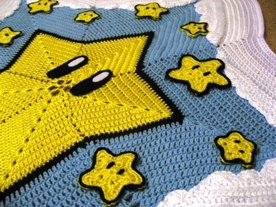 Super Mario invincibility star baby blanket - geeky blankets to crochet